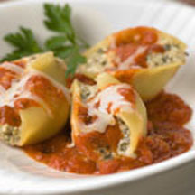 Pesto-Stuffed Shells in Marinara Sauce