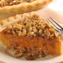 of this reduced calorie pumpkin pie with a crunchy candied topping ...