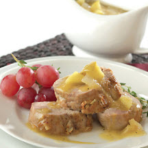 Calvados-Braised Pork Tenderloin Roast with Peppered Apple and Onion Gravy
