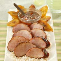 Chili Rubbed Pork Tenderloin with an Apricot Ginger Glaze