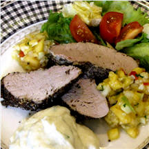 Garlic-Peppered Pork Tenderloin with Fresh Peach Relish