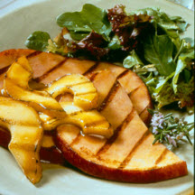 Grilled Pears and Ham with Maple Glaze