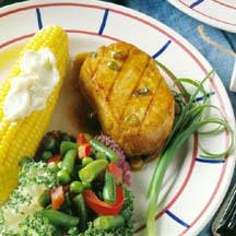 These grilled chops go great with the bounties of the summer garden ...