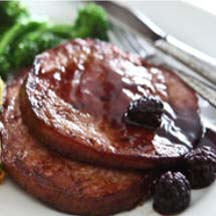 Ham Steaks with Blackberry Rum Sauce