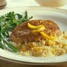 Moroccan-Seasoned Chops with Fruited Couscous