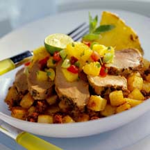 Pork Tenderloin Cancun with Chorizo Potatoes