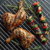 Chicken Legs with Glazed Eggplant, Zucchini and Apricots