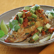 Cilantro Chicken with California Avocado and Pickled Tomato Salsa