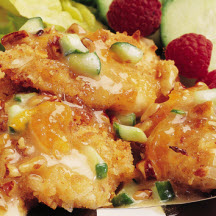 Coconut Breaded Chicken with Crunchy Fruit Sauce