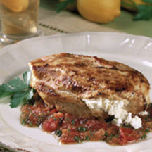 Feta-Filled Chicken Breasts with Cumin, Tomatoes and Mint