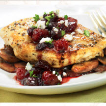 Pan Seared Chicken Breasts with Cranberry Cherry Sauce and Bleu Cheese Crumbles