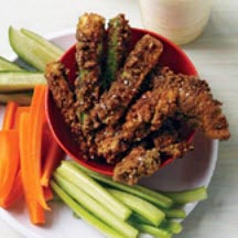 Pretzel-Crusted Chicken Fingers and Zucchini Sticks