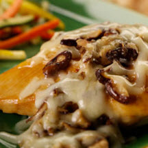 Provolone and Shiitake Smothered Chicken Breasts