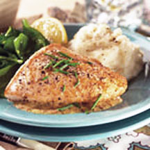 Sautéed turkey breast cutlets served with a tangy mustard pan sauce ...