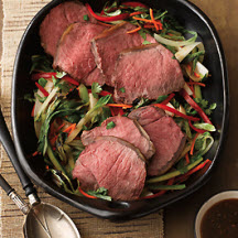 Asian-Glazed Beef Roast with Grilled Bok Choy Salad