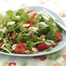 , fresh sliced strawberries, roasted almond slices and blue cheese ...