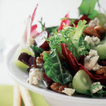 Baby Greens with Grapes, Hot-Sweet Pecans & Gorgonzola Vinaigrette