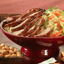Char Shui (Siu) Style BBQ Pork Tenderloin with Rice and Cabbage Salad