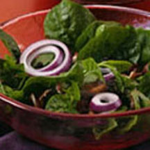 Cranberry Spinach Salad with Warm Honey Dijon Bacon Dressing