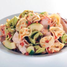 Fire Roasted Tomato Cheese Tortellini Salad with Chicken
