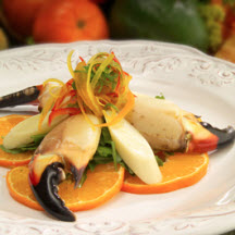 Honey Tangerine Florida Stone Crab Claws with Hearts of Palm Salad
