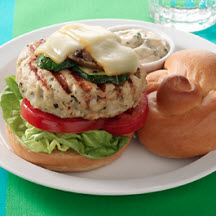 Basil Turkey Burgers with Muenster Cheese and Grilled Vegetables