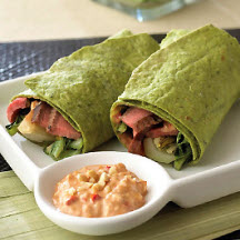 Grilled Szechuan Steak and Bok Choy Wraps with Spicy Peanut Mayonnaise