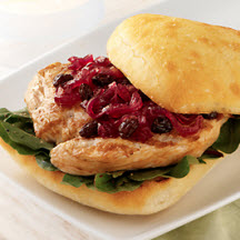 Turkey Cutlet on Ciabatta with California Raisin and Onion Marmalade