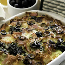 Spinach Olive Bread Pudding