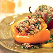 Stuffed Peppers with Rice, Apples and Bacon