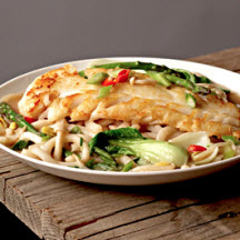 Alaska Cod in Miso Broth with Udon Noodles