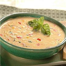 Creamy Corn Chowder with Basil Recipe at CooksRecipes.com