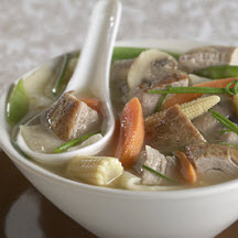 Gingered Pork-Vegetable Soup with Wonton Noodles