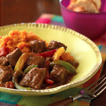 Mexican Beef Stew over Chipotle Sweet Potato Mashers