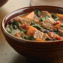 Pork, Sweet Potato and Black Bean Stew with Fresh Greens